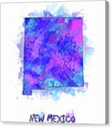 New Mexico Map Watercolor 2 Canvas Print