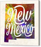 New Mexico Us State In Watercolor Text Cut Out Canvas Print
