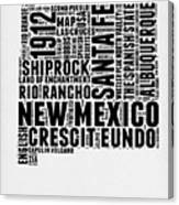 New Mexico Word Cloud Map 2 Canvas Print