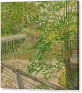 New Mills And Reflection Of Spring Canvas Print