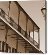 New Orleans Balcony With Lamp Canvas Print