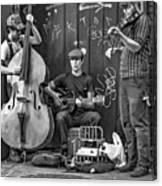 New Orleans Street Musicians Bw Canvas Print