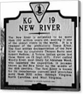 New River Historical Marker Canvas Print