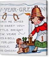 New Year Postcard Canvas Print