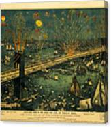 New York And Brooklyn Bridge Opening Night Fireworks Canvas Print