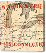 New York And Erie Railroad Map 1855 Canvas Print