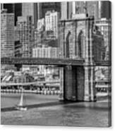 New York City Brooklyn Bridge And East River Canvas Print