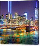 New York City Brooklyn Bridge Tribute In Lights Freedom Tower World Trade Center Wtc Manhattan Nyc Canvas Print