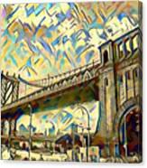 New York City - Brooklyn Bridge Watercolor Canvas Print