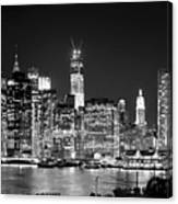 New York City Bw Tribute In Lights And Lower Manhattan At Night Black And White Nyc Canvas Print