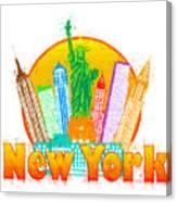 New York City Colorful Skyline In Circle Impressionist Illustrat Canvas Print