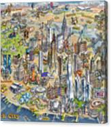 New York City Illustrated Map Canvas Print