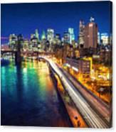 New York City Lights Blue Canvas Print