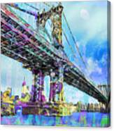 New York City Manhattan Bridge Blue Canvas Print