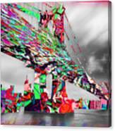 New York City Manhattan Bridge Pure Pop Red Canvas Print