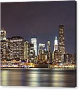 New York City - Manhattan Waterfront At Night Canvas Print