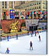 New York City Rockefeller Center Ice Rink Canvas Print
