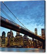 New York City Skyline By Night Canvas Print