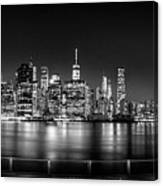 New York City Skyline Panorama At Night Bw Canvas Print