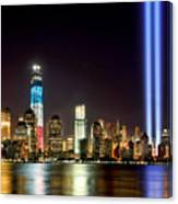 New York City Skyline Tribute In Lights And Lower Manhattan At Night Nyc Canvas Print