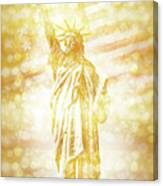 New York City Statue Of Liberty With American Banner - Golden Painting Canvas Print