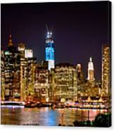 New York City Tribute In Lights And Lower Manhattan At Night Nyc Canvas Print