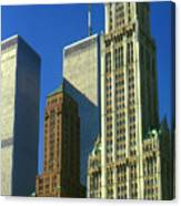 New York City - Woolworth Building And World Trade Center Canvas Print