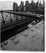 New York City You're Beautiful Brooklyn Bridge Ny Black And White Canvas Print