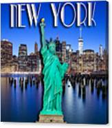 New York Classic Skyline With Statue Of Liberty Canvas Print