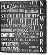 New York Famous Landmarks Canvas Print
