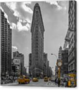 New York - Flatiron Building And Yellow Cabs - 2 Canvas Print