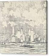 New York From Ellis Island Canvas Print