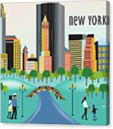 New York Horizontal Skyline - Central Park Canvas Print