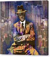 New York Man Seated City Background 1 Canvas Print
