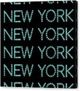 New York - Pale Blue On Black Background Canvas Print