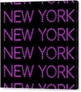 New York - Pink On Black Background Canvas Print