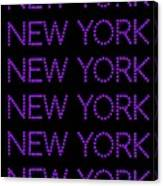 New York - Purple On Black Background Canvas Print