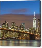 New York Skyline - Brooklyn Bridge Panorama - 2 Canvas Print