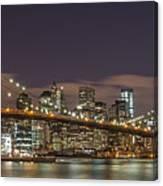 New York Skyline - Brooklyn Bridge Panorama - 3 Canvas Print