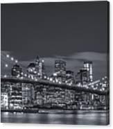 New York Skyline - Brooklyn Bridge Panorama - 4 Canvas Print