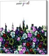 New York Skyline Floral 3 Canvas Print