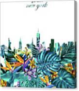 New York Skyline Floral  6 Canvas Print