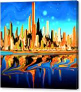 New York Skyline Blue Orange - Modern Art Canvas Print