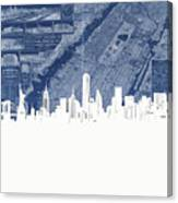New York Skyline Map 2 Canvas Print