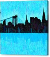 New York Skyline Silhouette Cyan - Da Canvas Print