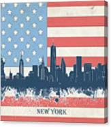 New York Skyline Usa Flag 4 Canvas Print