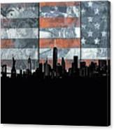 New York Skyline Usa Flag 5 Canvas Print