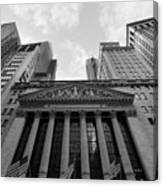 New York Stock Exchange Black And White Canvas Print