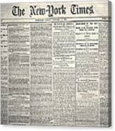New York Times, 1864 Canvas Print