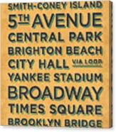 New York Train Stations Retro Vintage - Black On Yellow Canvas Print